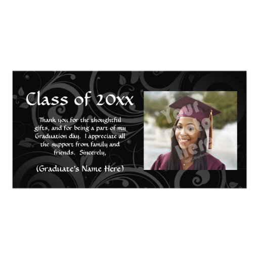 Black Scroll Graduation Announcement/Thank You Photo Cards