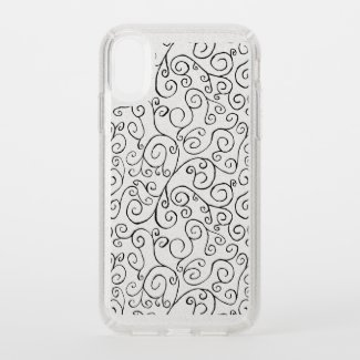 Black Scrolling Curves Abstract Pattern Glitter Speck iPhone Case