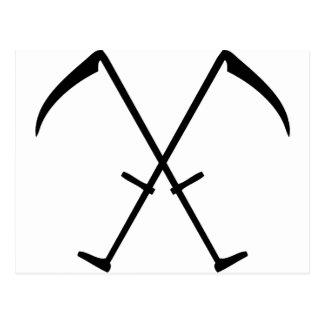 black scythe crossed icon postcard