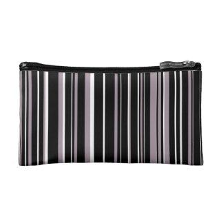 Black, Sea Fog Purple, White Barcode Stripe Makeup Bag