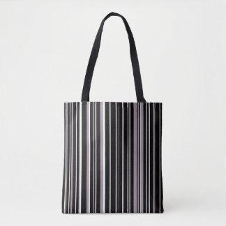 Black, Sea Fog Purple, White Barcode Stripe Tote Bag