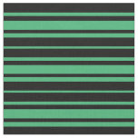 [ Thumbnail: Black & Sea Green Pattern Fabric ]
