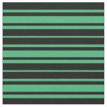 [ Thumbnail: Black & Sea Green Pattern Fabric ]