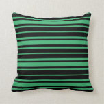 [ Thumbnail: Black & Sea Green Pattern Throw Pillow ]
