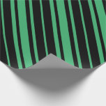 [ Thumbnail: Black & Sea Green Pattern Wrapping Paper ]