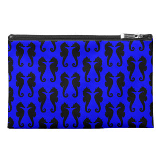 Black Sea Horses on Blue Travel Accessory Bags