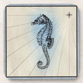 Black Seahorse Marine Print with Blue Frame Drink Coaster