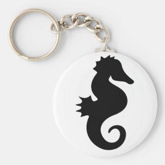 Black Seahorse Silhouette Keychain