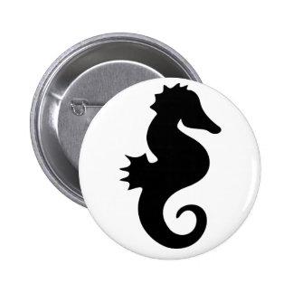 Black Seahorse Silhouette Pinback Button