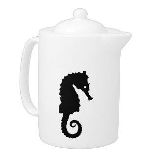 Black seahorse teapot