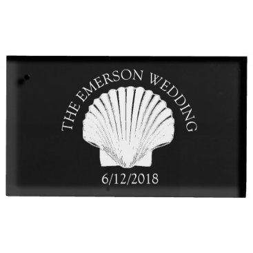 Beach Themed Black Seashell Wedding Table Number Card Holder