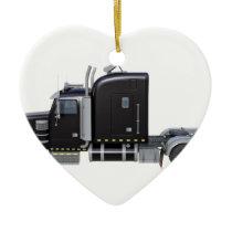 Black Semi Tractor Trailer in Side Profile Ceramic Ornament
