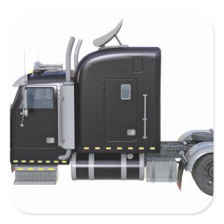 Black Semi Tractor Trailer in Side Profile Square Sticker
