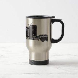 Black Semi Tractor Trailer in Side Profile Travel Mug