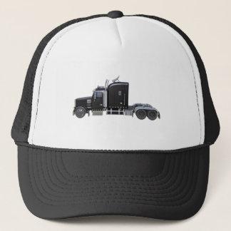 Black Semi Tractor Trailer in Side Profile Trucker Hat