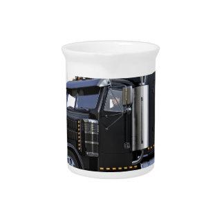 Black Semi Tractor Trailer Truck Beverage Pitcher