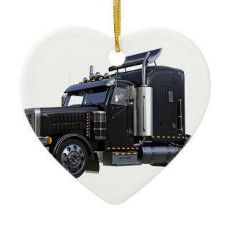 Black Semi Tractor Trailer Truck Ceramic Ornament
