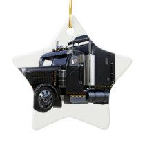 Black Semi Tractor Trailer Truck Ceramic Ornament
