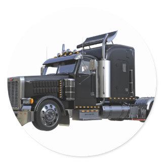 Black Semi Tractor Trailer Truck Classic Round Sticker
