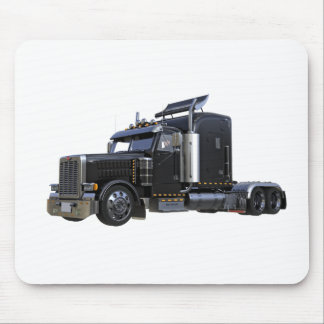 Black Semi Tractor Trailer Truck Mouse Pad