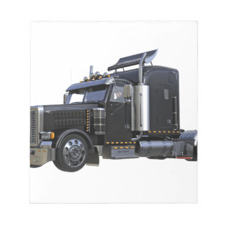 Black Semi Tractor Trailer Truck Notepad