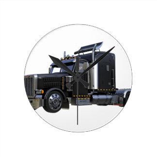 Black Semi Tractor Trailer Truck Round Clock