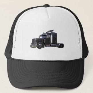 Black Semi Tractor Trailer Truck Trucker Hat