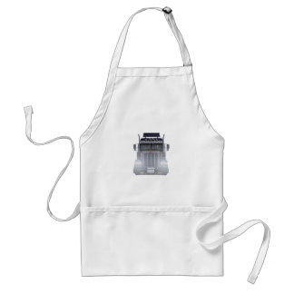 Black Semi Tractor Trailer Truck With Headlights Adult Apron