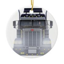 Black Semi Tractor Trailer Truck With Headlights Ceramic Ornament