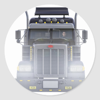 Black Semi Tractor Trailer Truck With Headlights Classic Round Sticker