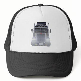 Black Semi Tractor Trailer Truck With Headlights Trucker Hat
