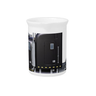 Black Semi Truck with Full Lights In Side View Beverage Pitcher