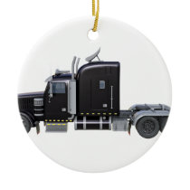 Black Semi Truck with Full Lights In Side View Ceramic Ornament