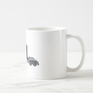 Black Semi Truck with Full Lights In Side View Coffee Mug