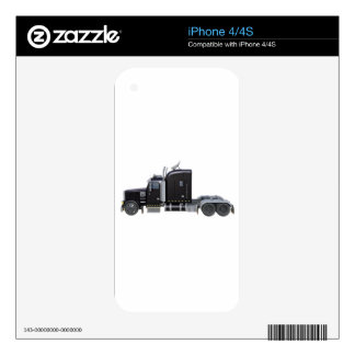 Black Semi Truck with Full Lights In Side View Decal For iPhone 4