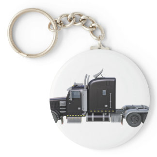 Black Semi Truck with Full Lights In Side View Keychain