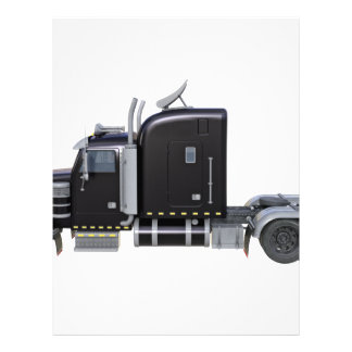 Black Semi Truck with Full Lights In Side View Letterhead