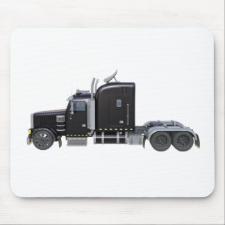 Black Semi Truck with Full Lights In Side View Mouse Pad