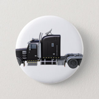 Black Semi Truck with Full Lights In Side View Pinback Button