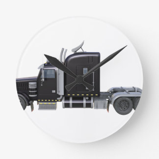 Black Semi Truck with Full Lights In Side View Round Clock