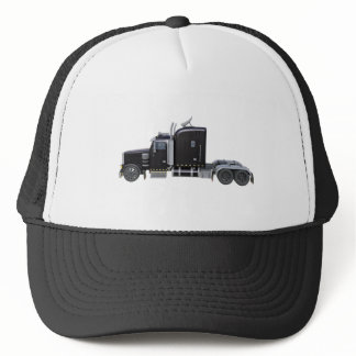 Black Semi Truck with Full Lights In Side View Trucker Hat