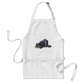 Black Semi Truck with Lights On in A Three Quarter Adult Apron