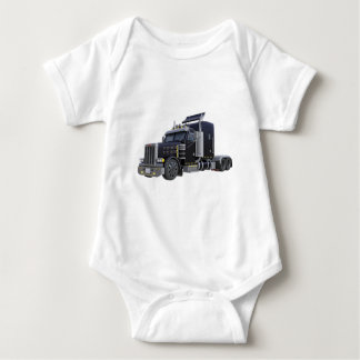 Black Semi Truck with Lights On in A Three Quarter Baby Bodysuit