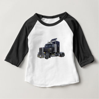 Black Semi Truck with Lights On in A Three Quarter Baby T-Shirt