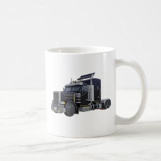Black Semi Truck with Lights On in A Three Quarter Coffee Mug