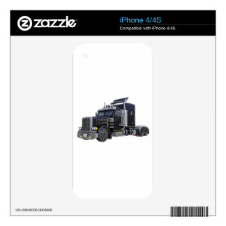 Black Semi Truck with Lights On in A Three Quarter iPhone 4 Decal