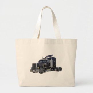 Black Semi Truck with Lights On in A Three Quarter Large Tote Bag