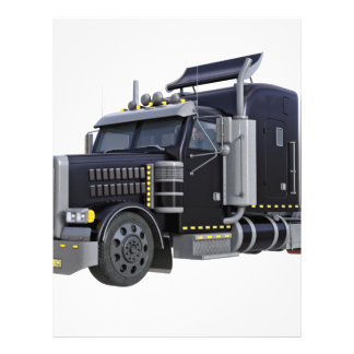 Black Semi Truck with Lights On in A Three Quarter Letterhead
