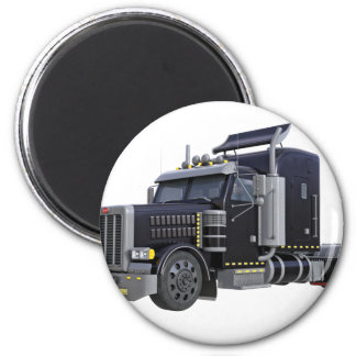Black Semi Truck with Lights On in A Three Quarter Magnet