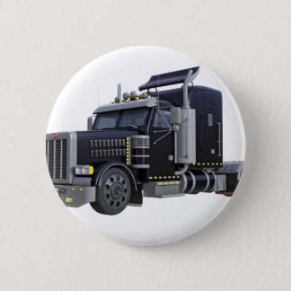 Black Semi Truck with Lights On in A Three Quarter Pinback Button